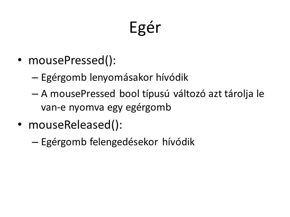Egér mousePressed(): mouseReleased(): Egérgomb lenyomásakor hívódik
