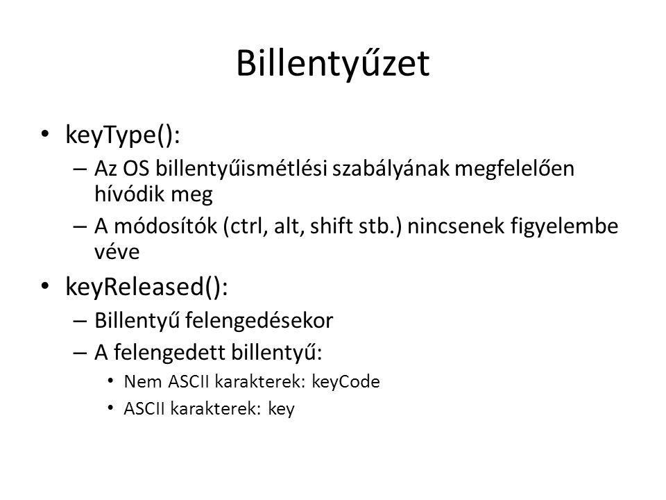 Billentyűzet keyType(): keyReleased():