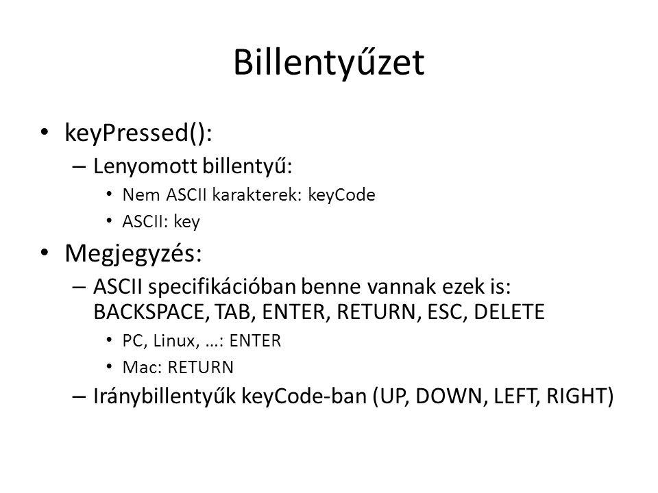 Billentyűzet keyPressed(): Megjegyzés: Lenyomott billentyű:
