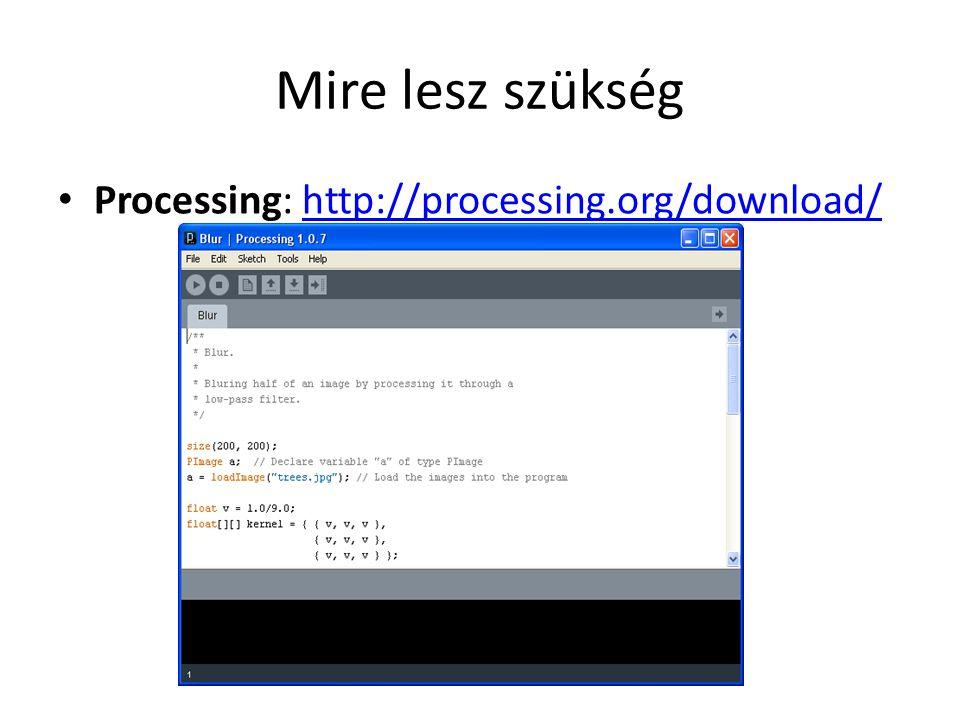 Mire lesz szükség Processing: http://processing.org/download/