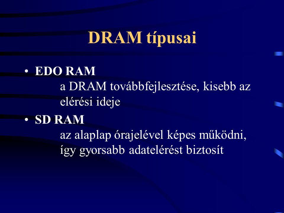 DRAM típusai EDO RAM a DRAM továbbfejlesztése, kisebb az elérési ideje