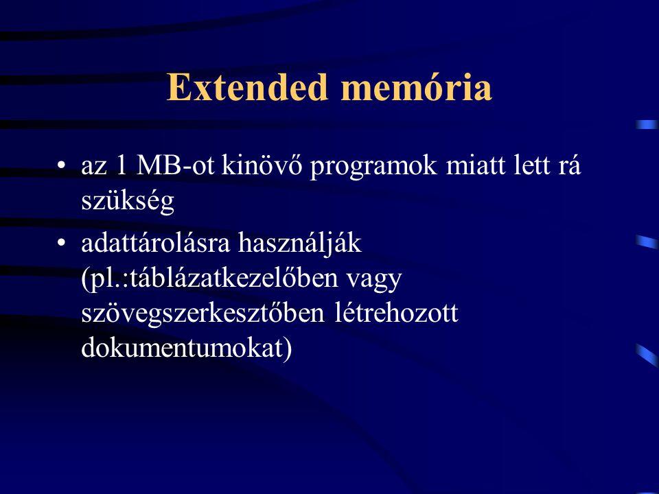 Extended memória az 1 MB-ot kinövő programok miatt lett rá szükség