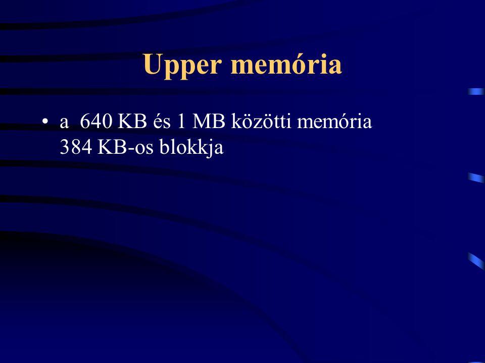Upper memória a 640 KB és 1 MB közötti memória 384 KB-os blokkja