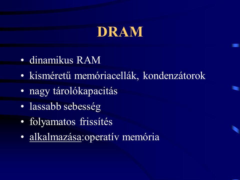 DRAM dinamikus RAM kisméretű memóriacellák, kondenzátorok