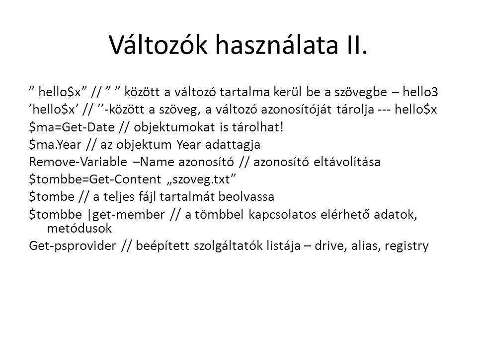 Változók használata II.