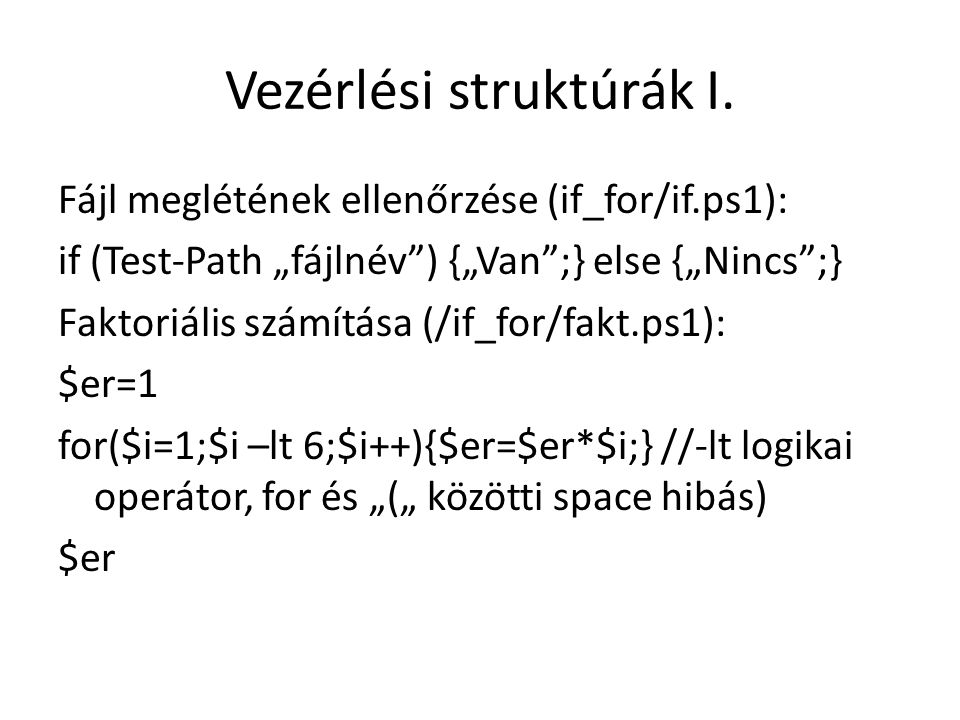 Vezérlési struktúrák I.
