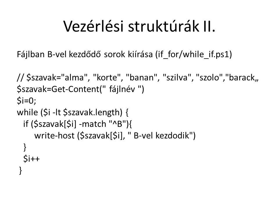 Vezérlési struktúrák II.