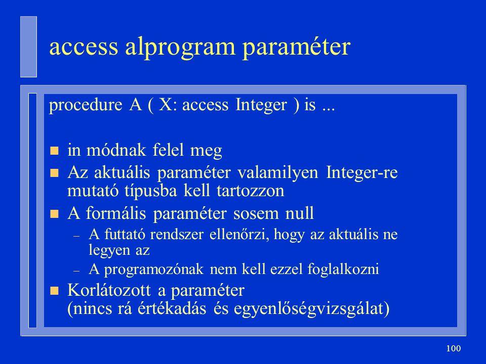 access alprogram paraméter