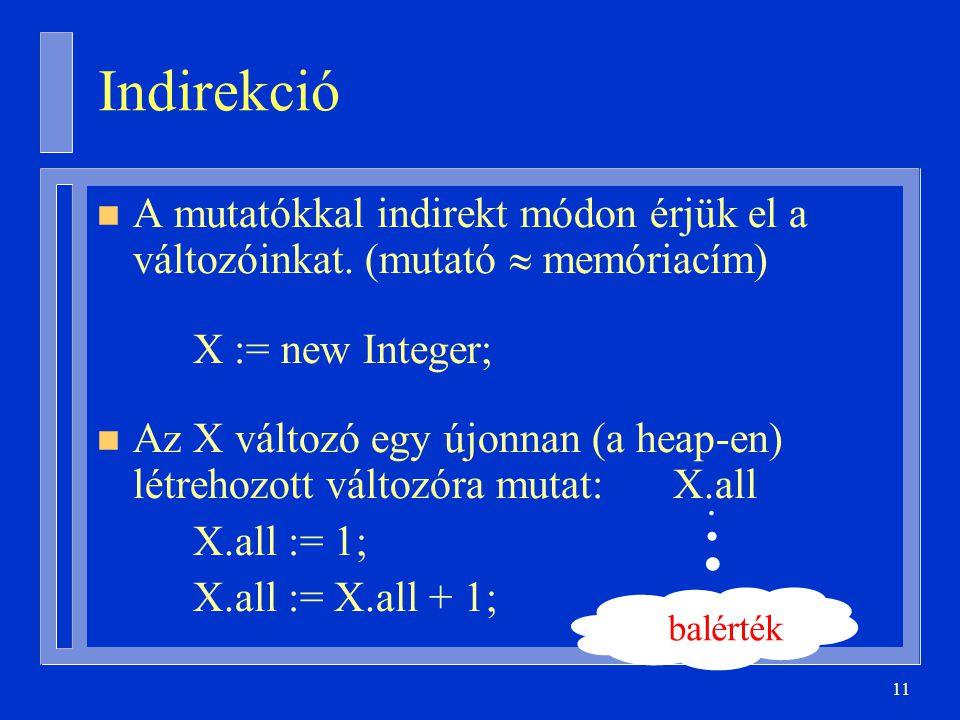Indirekció A mutatókkal indirekt módon érjük el a változóinkat. (mutató  memóriacím) X := new Integer;