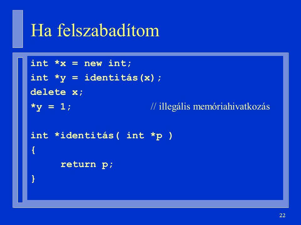 Ha felszabadítom int *x = new int; int *y = identitás(x); delete x;