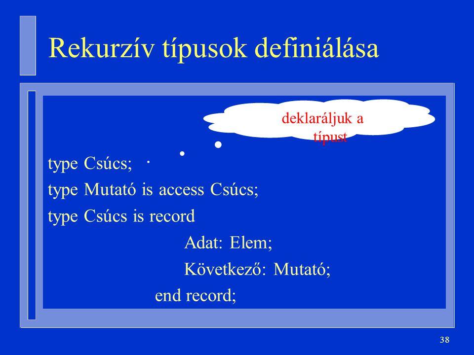 Rekurzív típusok definiálása