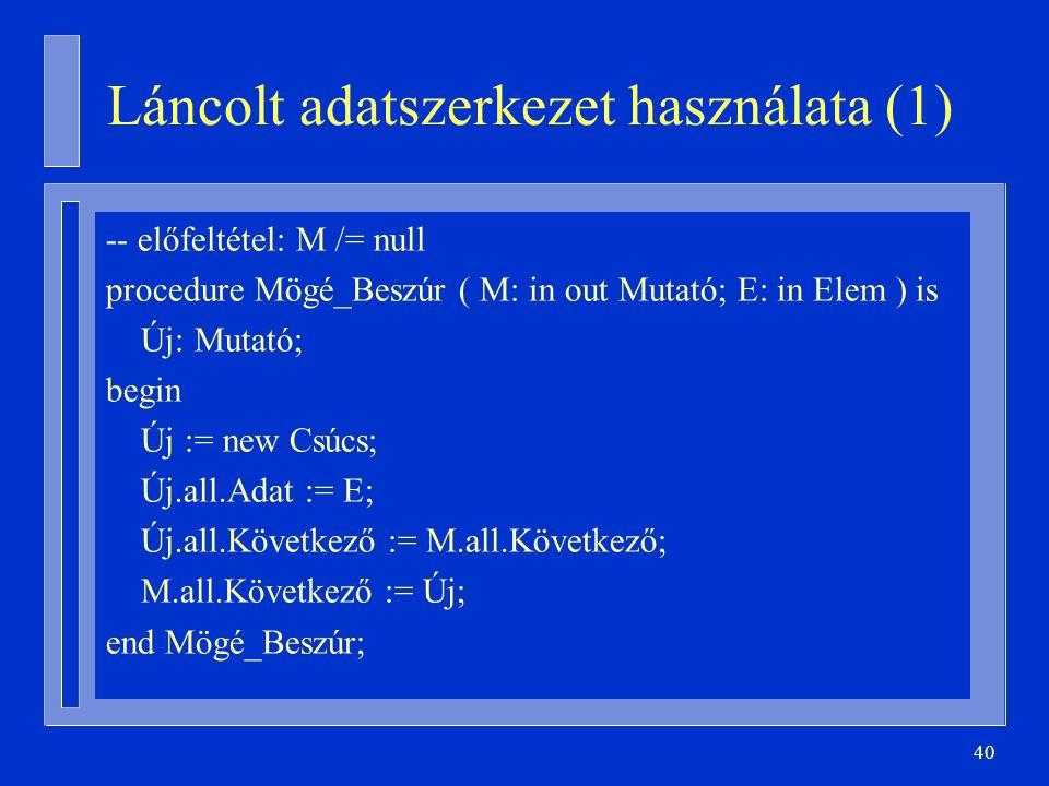 Láncolt adatszerkezet használata (1)
