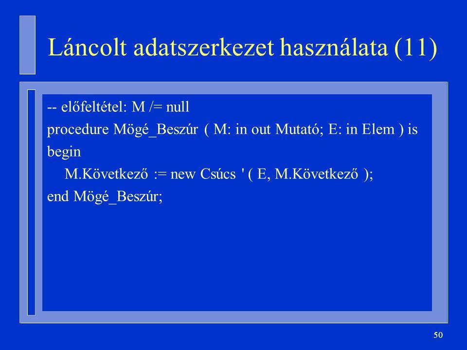 Láncolt adatszerkezet használata (11)