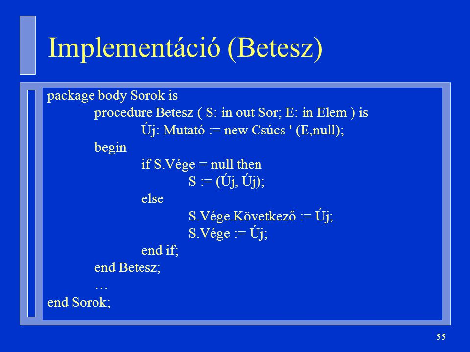 Implementáció (Betesz)