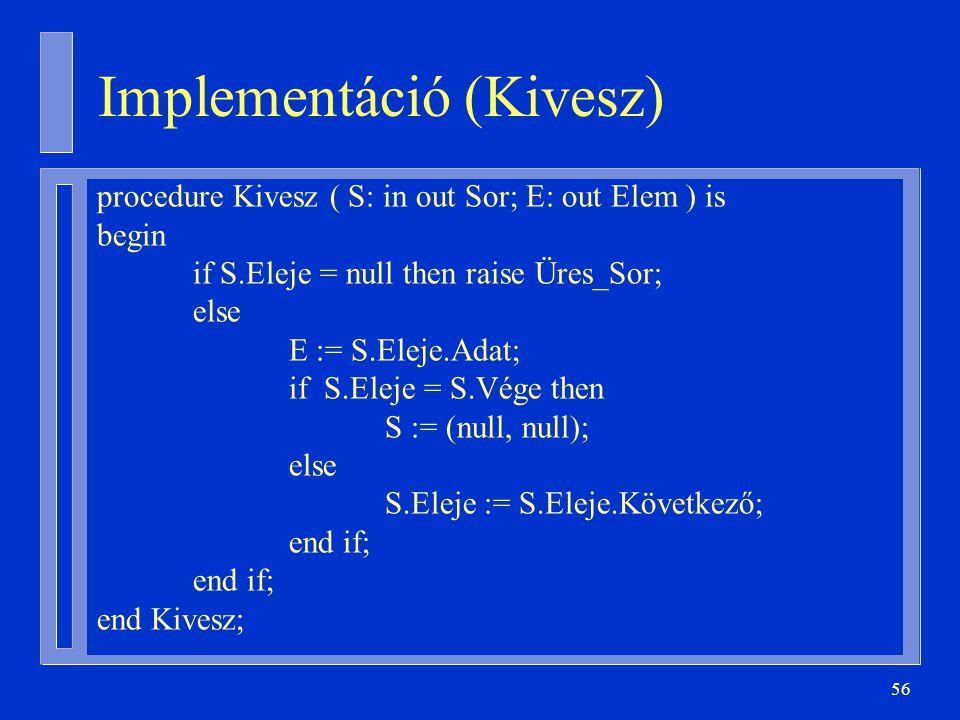 Implementáció (Kivesz)