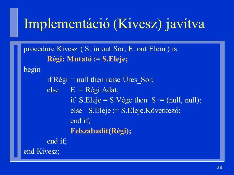 Implementáció (Kivesz) javítva