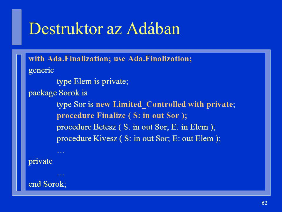 Destruktor az Adában with Ada.Finalization; use Ada.Finalization;