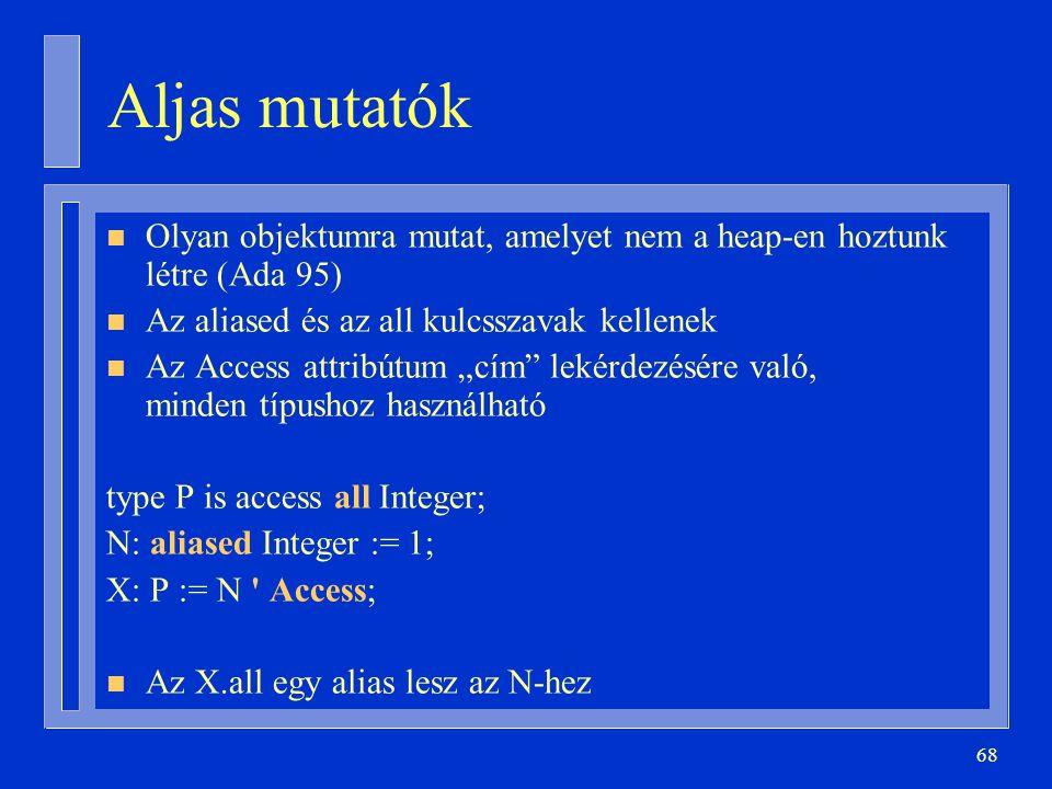 Aljas mutatók Olyan objektumra mutat, amelyet nem a heap-en hoztunk létre (Ada 95) Az aliased és az all kulcsszavak kellenek.