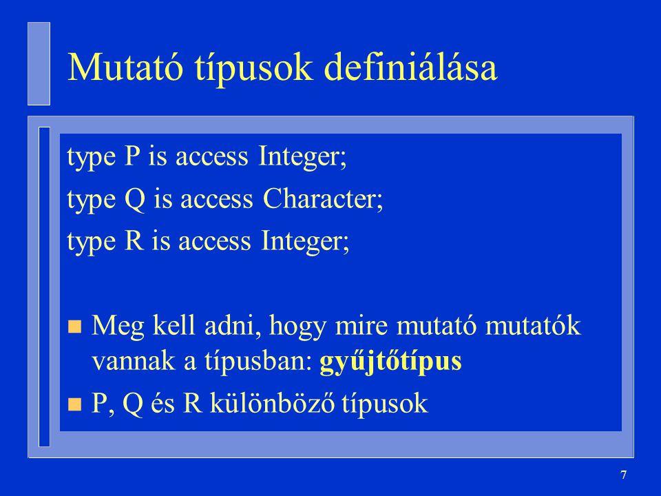 Mutató típusok definiálása