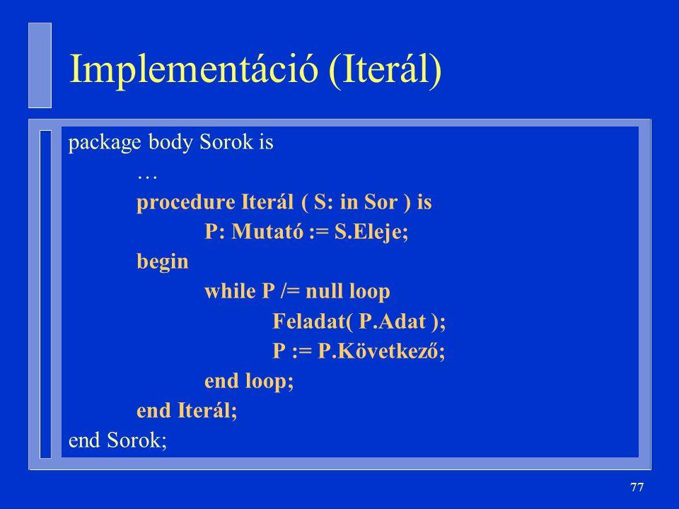 Implementáció (Iterál)