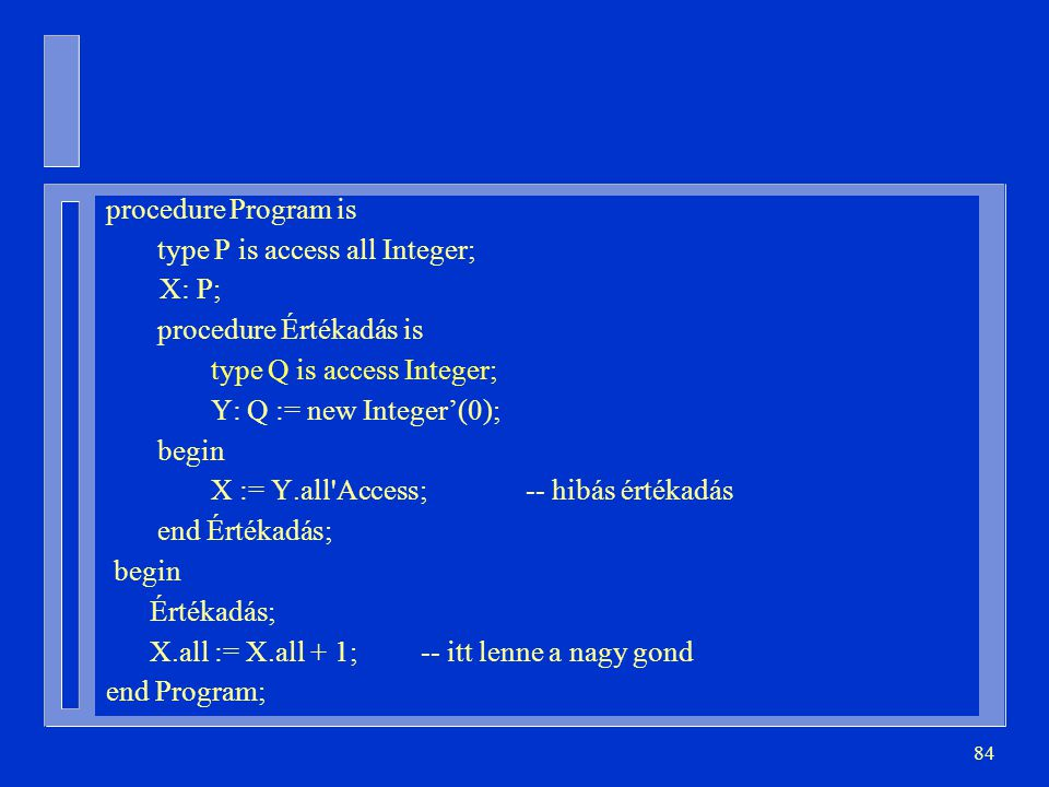 procedure Program is type P is access all Integer; X: P; procedure Értékadás is. type Q is access Integer;