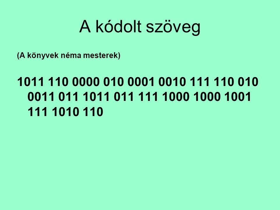 A kódolt szöveg (A könyvek néma mesterek) 1011 110 0000 010 0001 0010 111 110 010 0011 011 1011 011 111 1000 1000 1001 111 1010 110.