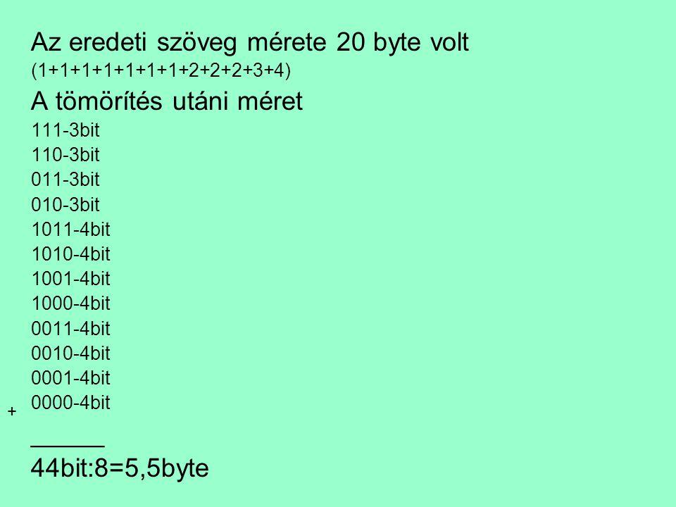 Az eredeti szöveg mérete 20 byte volt A tömörítés utáni méret