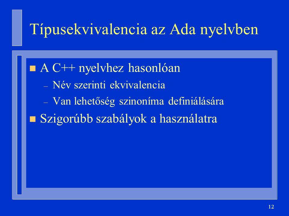 Típusekvivalencia az Ada nyelvben