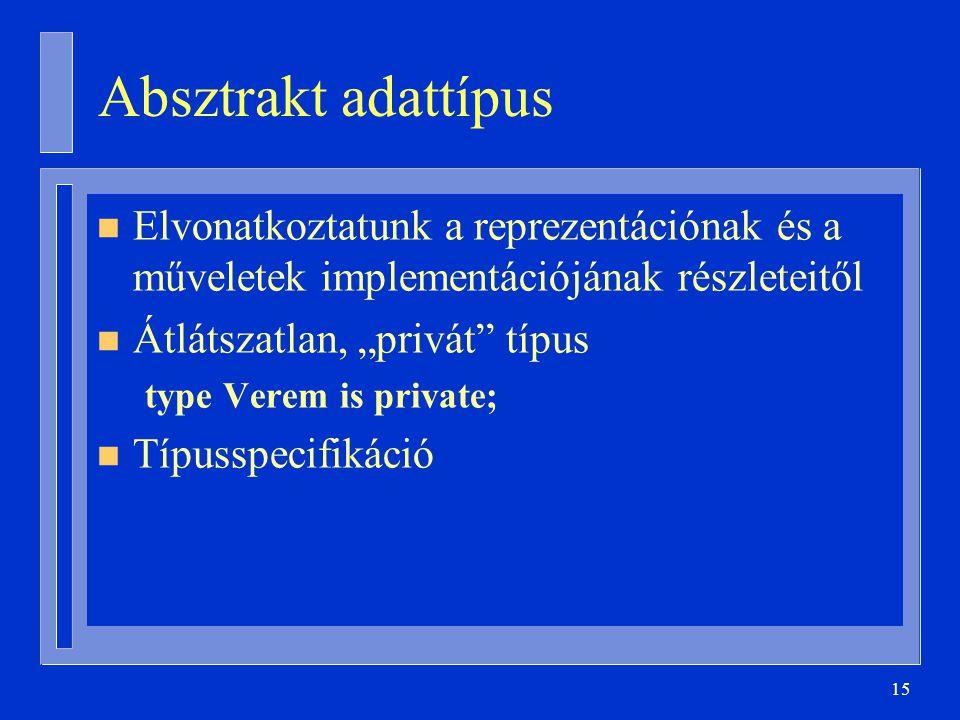 Absztrakt adattípus Elvonatkoztatunk a reprezentációnak és a műveletek implementációjának részleteitől.