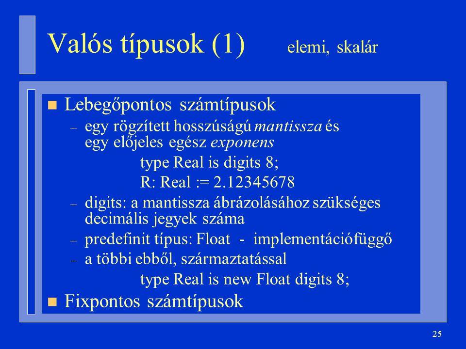 Valós típusok (1) elemi, skalár