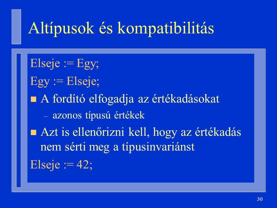 Altípusok és kompatibilitás
