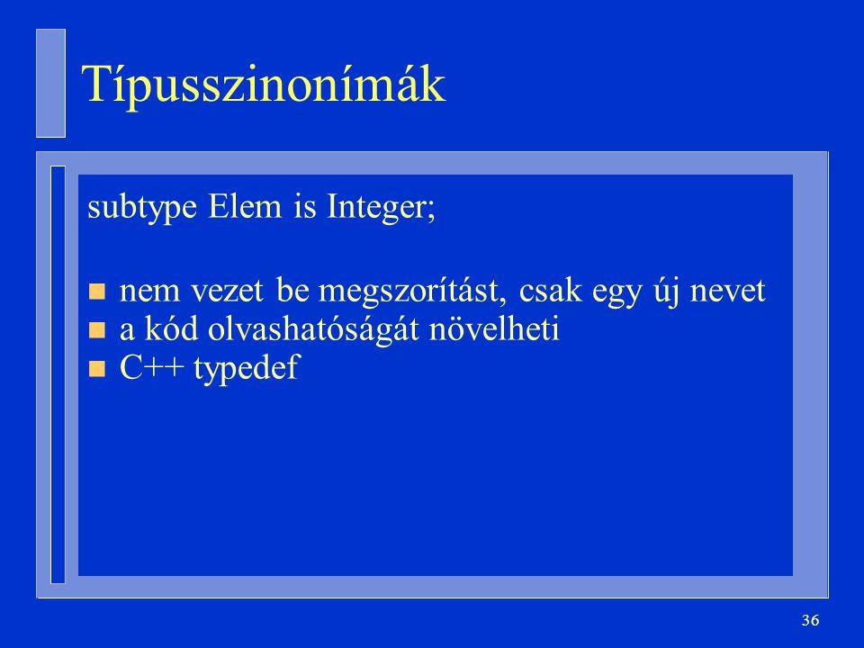 Típusszinonímák subtype Elem is Integer;