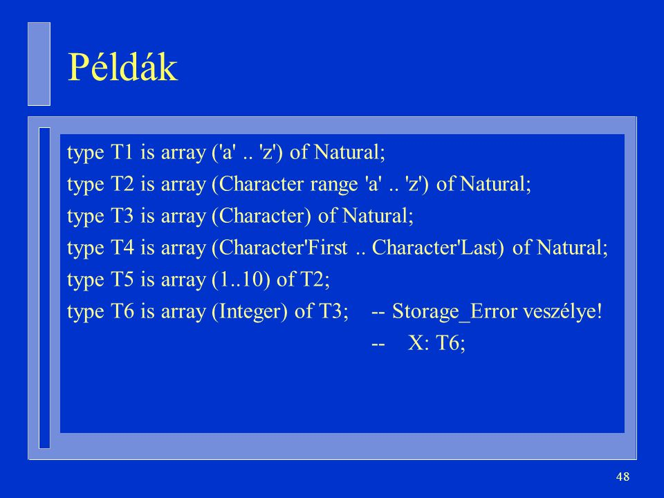 Példák type T1 is array ( a .. z ) of Natural;