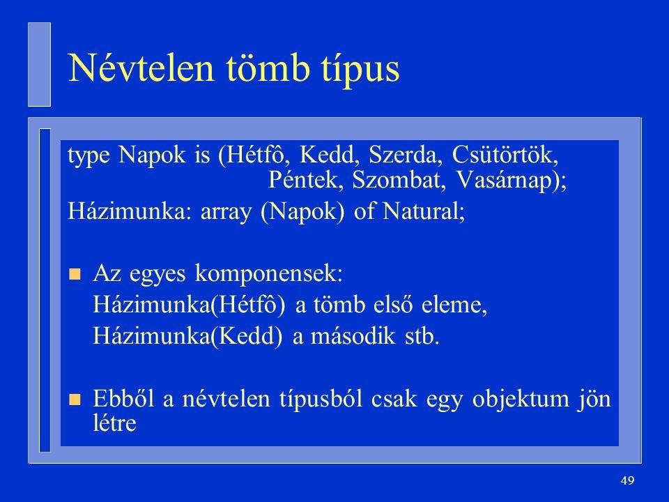 Névtelen tömb típus type Napok is (Hétfô, Kedd, Szerda, Csütörtök, Péntek, Szombat, Vasárnap); Házimunka: array (Napok) of Natural;
