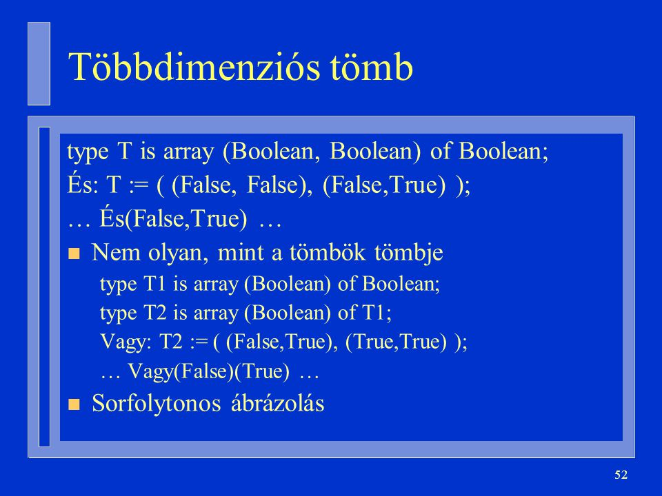Többdimenziós tömb type T is array (Boolean, Boolean) of Boolean;