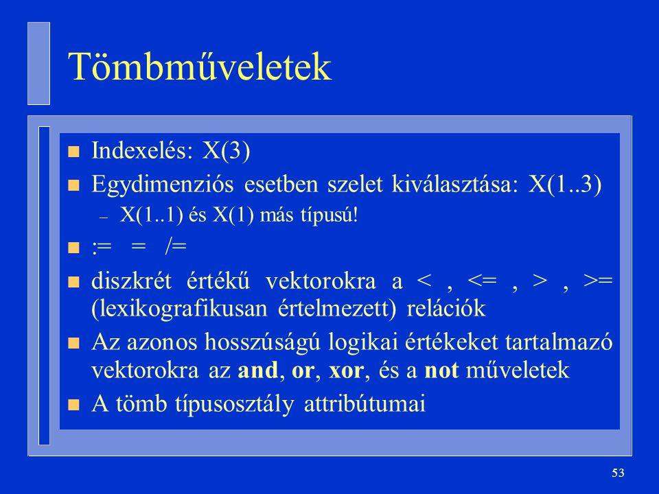 Tömbműveletek Indexelés: X(3)