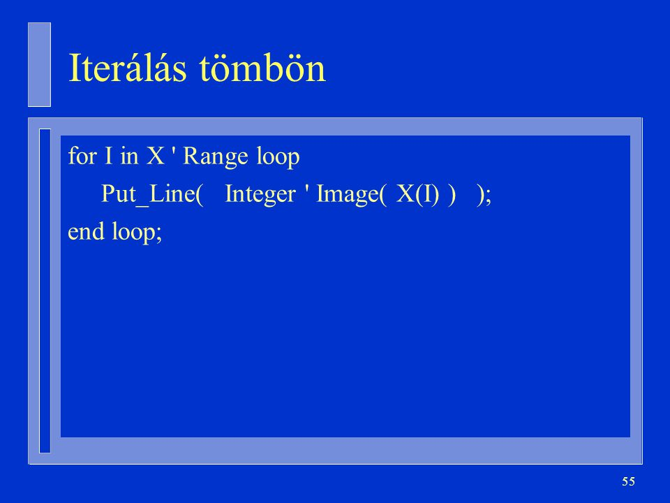 Iterálás tömbön for I in X Range loop