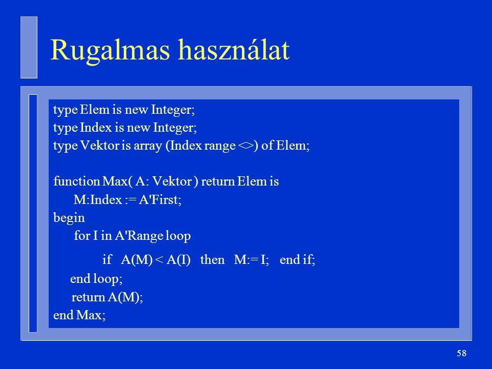 Rugalmas használat if A(M) < A(I) then M:= I; end if;