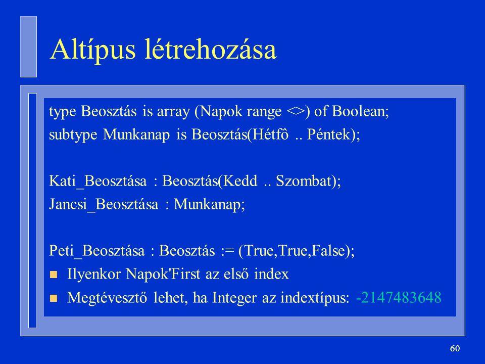 Altípus létrehozása type Beosztás is array (Napok range <>) of Boolean; subtype Munkanap is Beosztás(Hétfô .. Péntek);