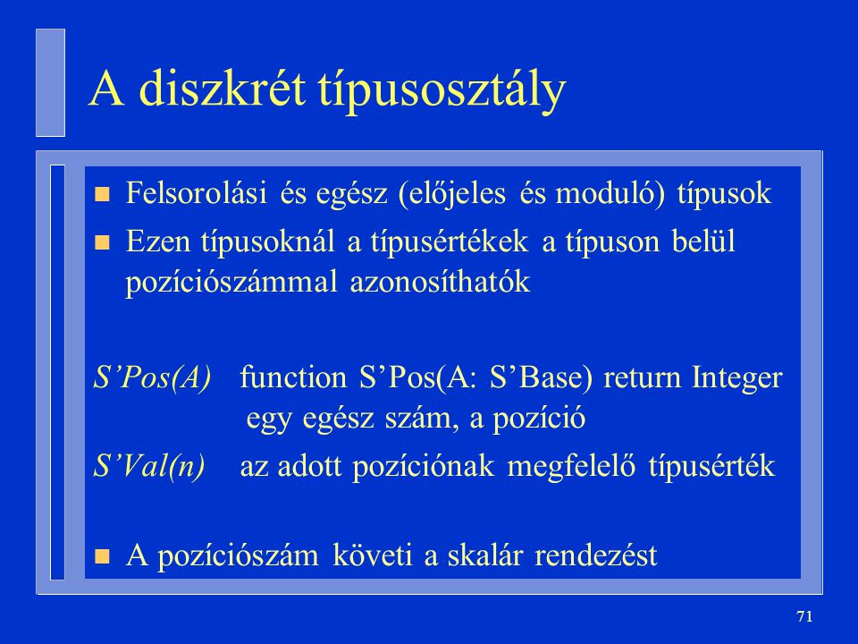 A diszkrét típusosztály