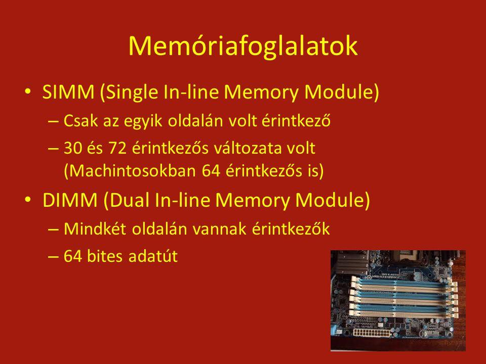 Memóriafoglalatok SIMM (Single In-line Memory Module)