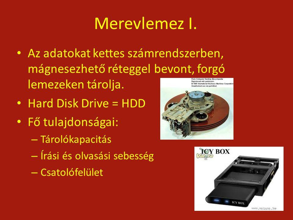 Merevlemez I. Az adatokat kettes számrendszerben, mágnesezhető réteggel bevont, forgó lemezeken tárolja.