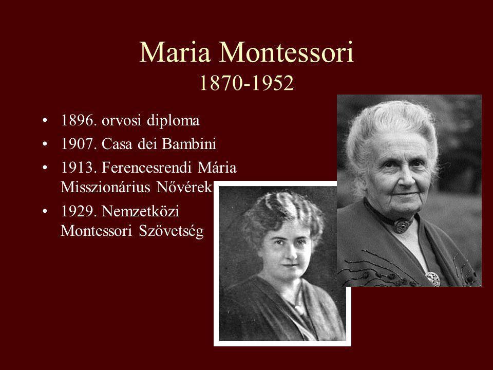 Maria Montessori 1870-1952 1896. orvosi diploma 1907. Casa dei Bambini