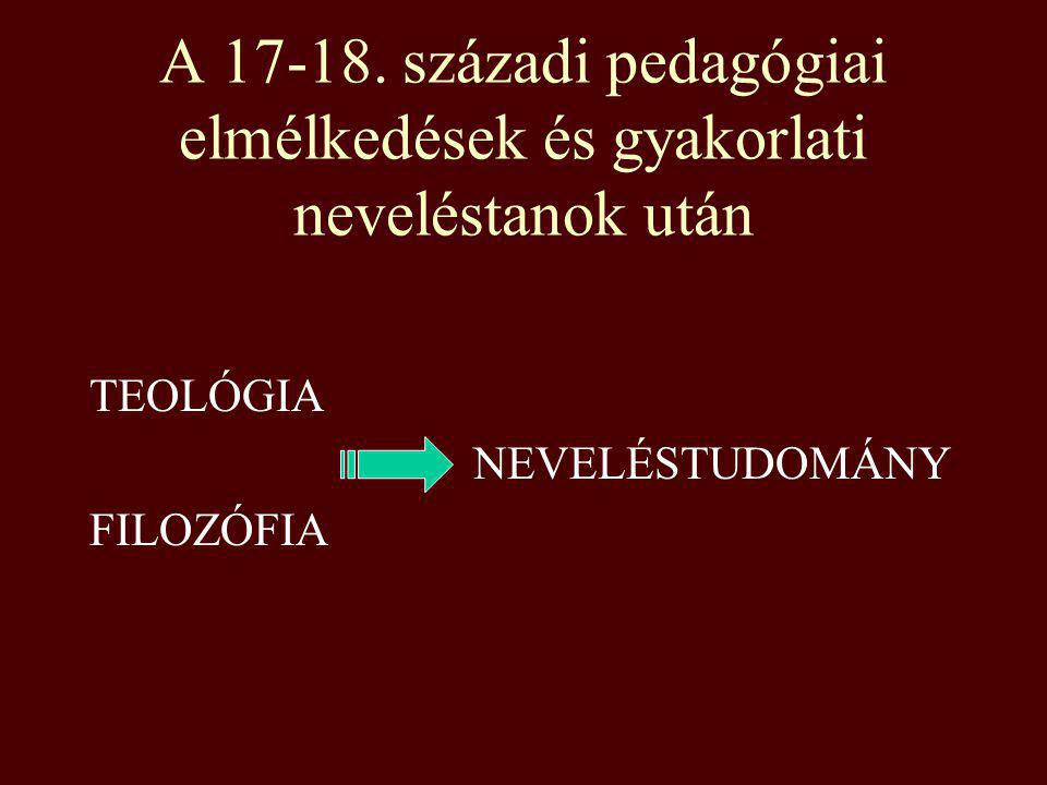 A 17-18. századi pedagógiai elmélkedések és gyakorlati neveléstanok után