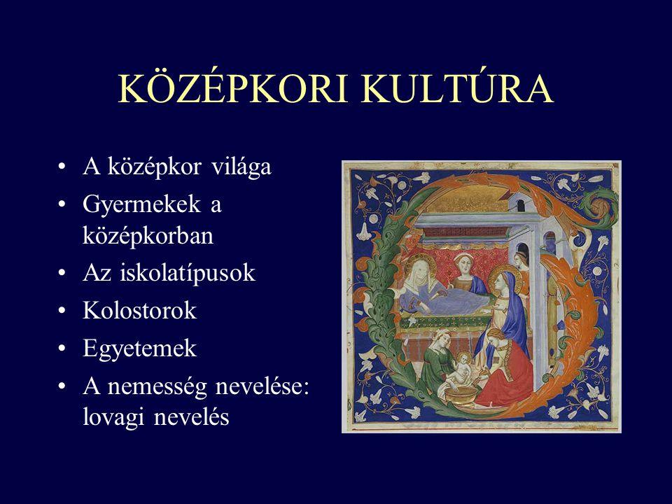 KÖZÉPKORI KULTÚRA A középkor világa Gyermekek a középkorban