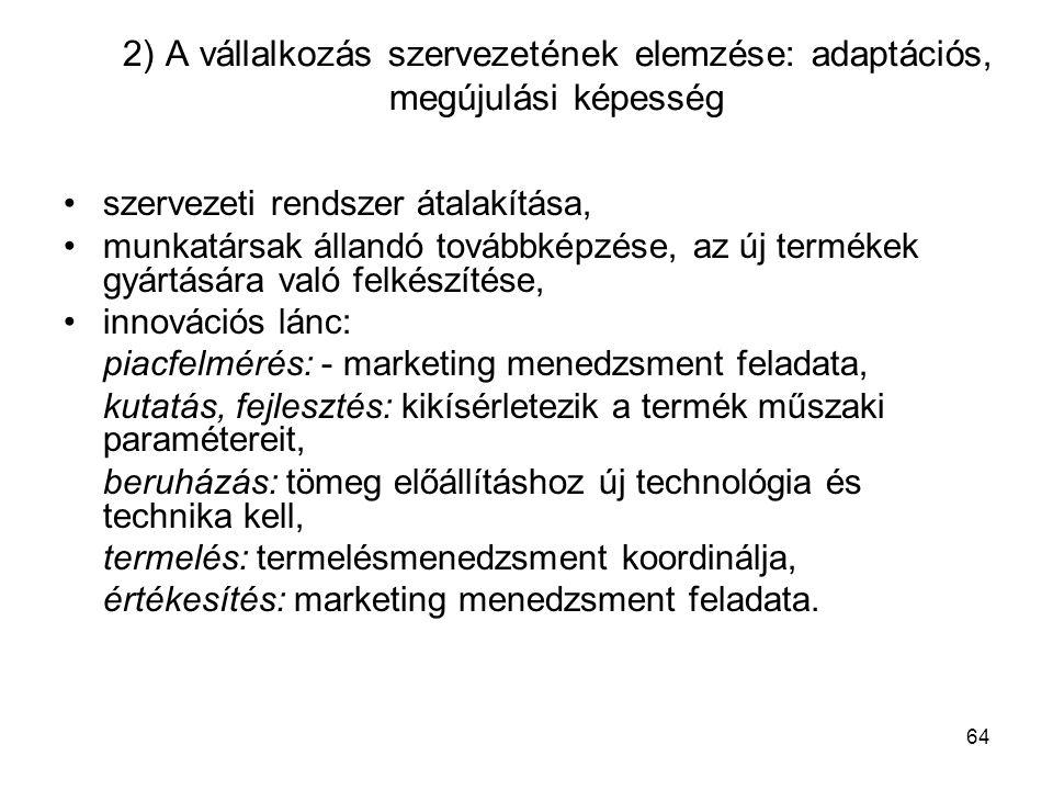 2) A vállalkozás szervezetének elemzése: adaptációs, megújulási képesség