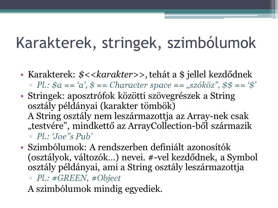 Karakterek, stringek, szimbólumok