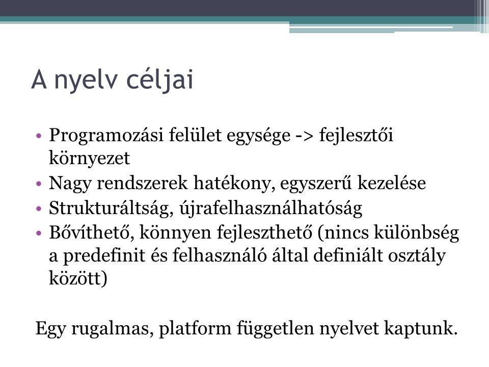 A nyelv céljai Programozási felület egysége -> fejlesztői környezet