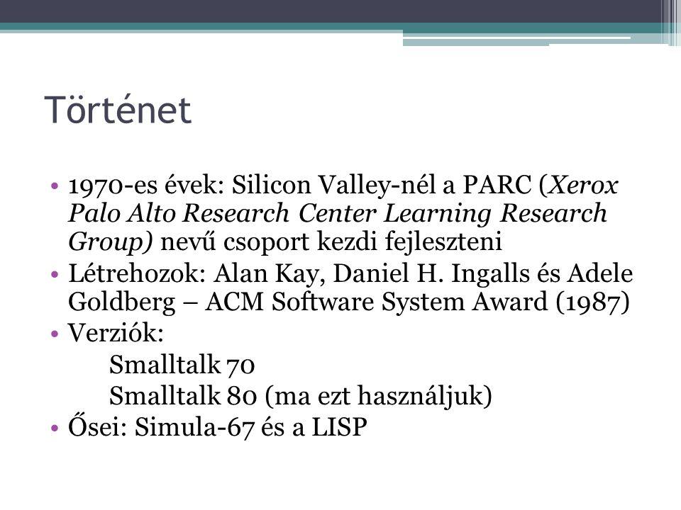 Történet 1970-es évek: Silicon Valley-nél a PARC (Xerox Palo Alto Research Center Learning Research Group) nevű csoport kezdi fejleszteni.