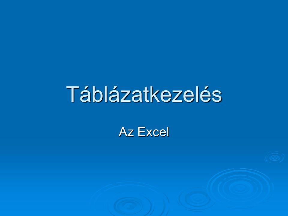 Táblázatkezelés Az Excel